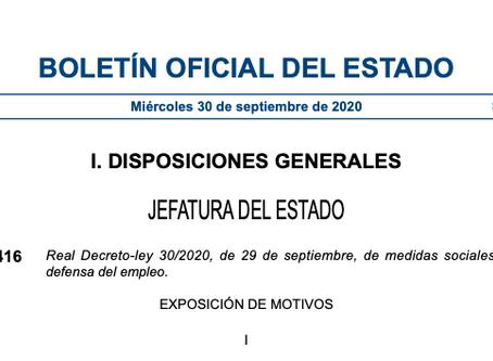 Medidas sociales en defensa del empleo: nueva situación de los ERTE