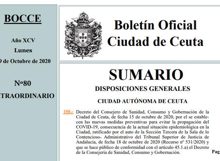 BOCCE del Decreto de 19 de octubre por el que se establecen nuevas medidas restrictivas