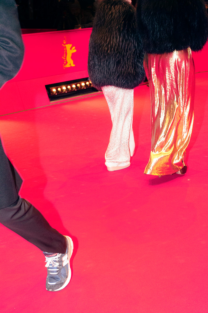 Visitors enter the red carpet at the Berlinale Palace
