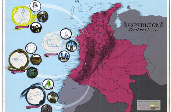 Map of the journey in Colombia made by Margarita