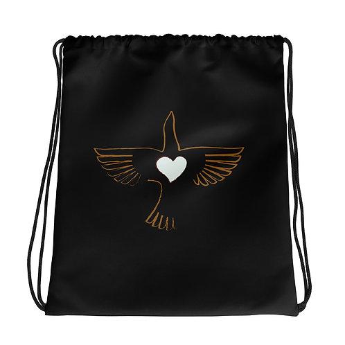 OG Peace Bird Black Drawstring Bag