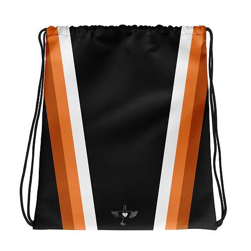 Bronze|Orange|White on Black Drawstring Gym Bag