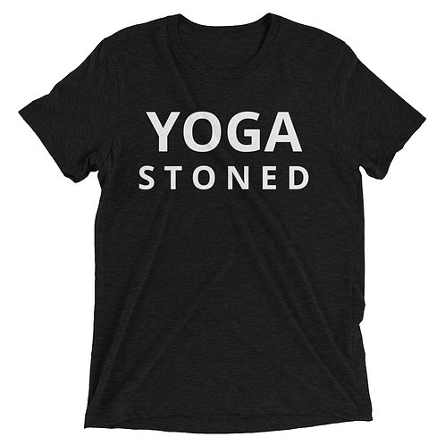 Yoga Stoned White Text Unisex Short Sleeve t-shirt