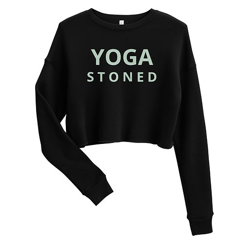 Yoga Stoned Green Text Crop Sweatshirt