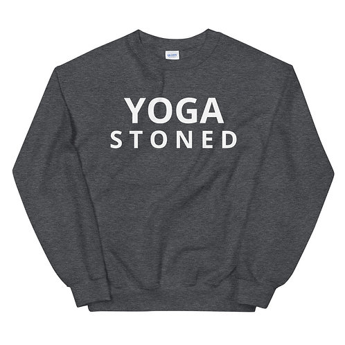 Yoga Stoned White Text Unisex Sweatshirt