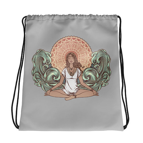 Yoga Girl Grey Drawstring Gym Bag