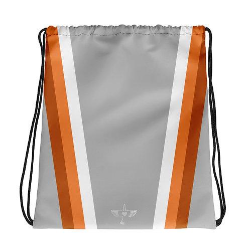 Bronze Orange White on Grey Drawstring Gym Bag