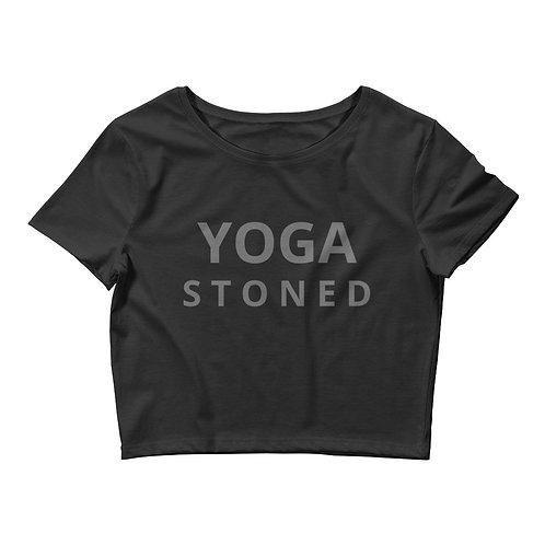 Yoga Stoned Grey Text Women's Crop Tee