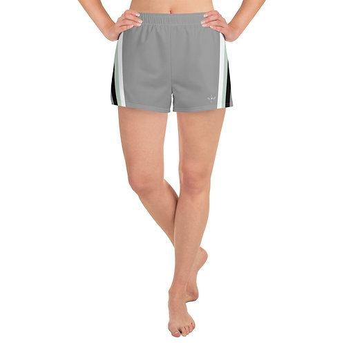 White|Green|Black on Grey Women's Athletic Short Shorts