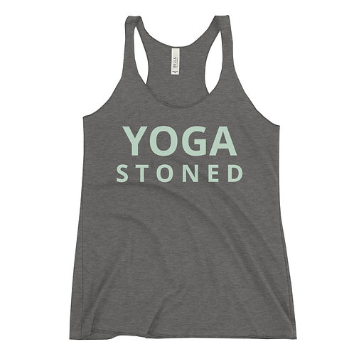 Yoga Stoned Green Text Women's Racerback Tank