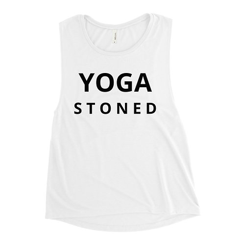 Yoga Stoned Black Text Ladies' Muscle Tank