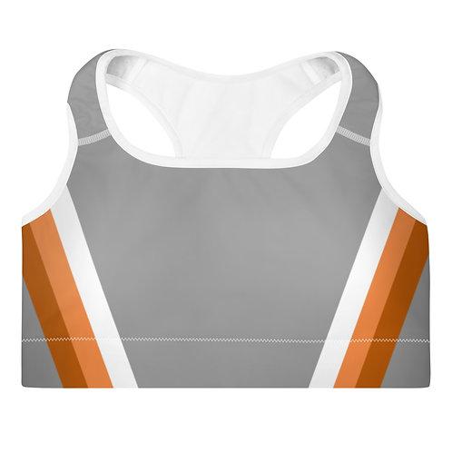Bronze|Orange|White on Grey Sports Bra