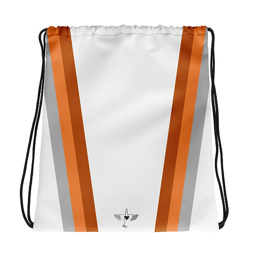 Grey|Orange|Bronze on White Drawstring Gym Bag