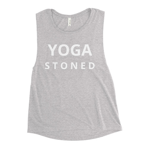 Yoga Stoned White Text Ladies' Muscle Tank
