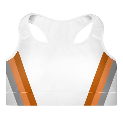 Bronze|Orange|Grey on White Sports Bra