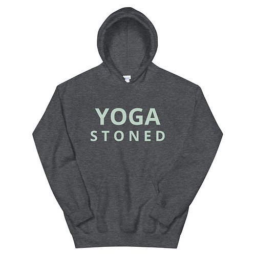 Yoga Stoned Green Text Unisex Hoodie