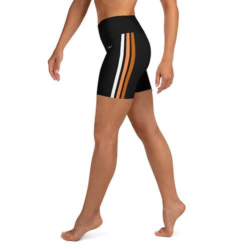 Bronze|Orange|White on Black Yoga Shorts