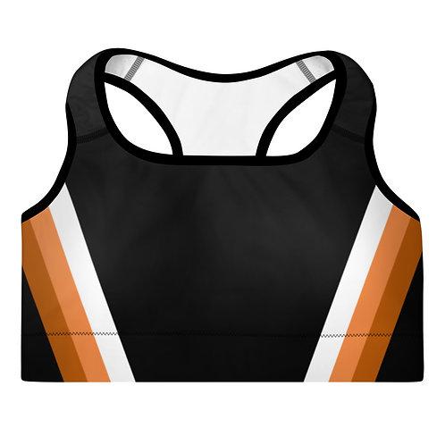 Bronze|Orange|White on Black Sports Bra