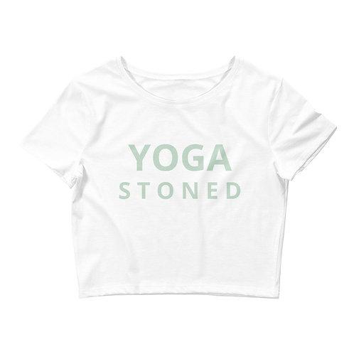 Yoga Stoned Green Text Women's Crop Tee