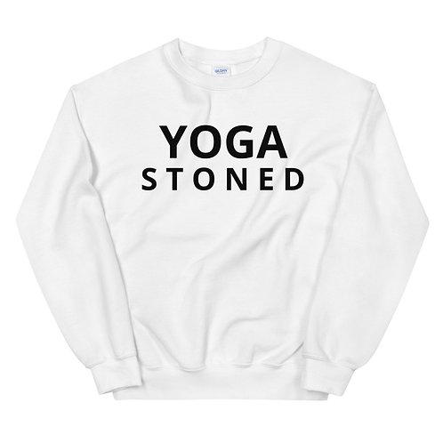 Yoga Stoned Black Text Unisex Sweatshirt
