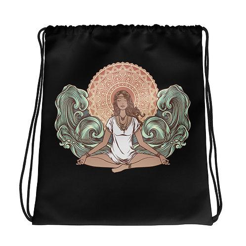 Yoga Girl Black Drawstring Bag