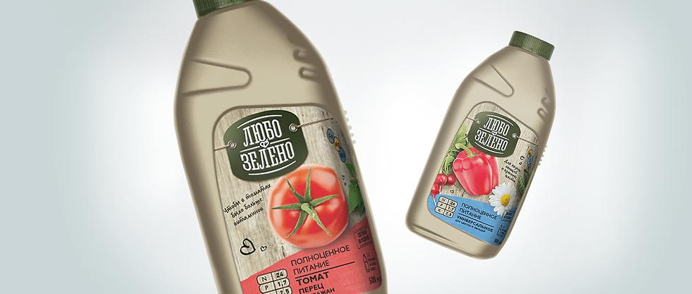 Разработка бренда Любо-Зелено дизайн упаковки удобрения