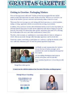 Getting to Gravitas: Packaging Matters