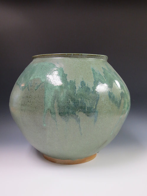 Large Vase with Forest Green and White Glazes