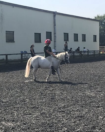 Charlie riding Olaf bareback; surprisingly went well