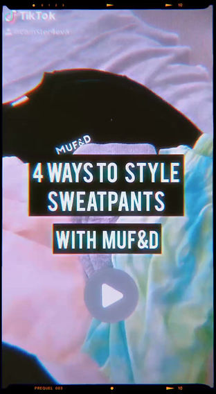 How to Style sweatpants in 5 ways features various stylings with the how many different outfits can you come up with