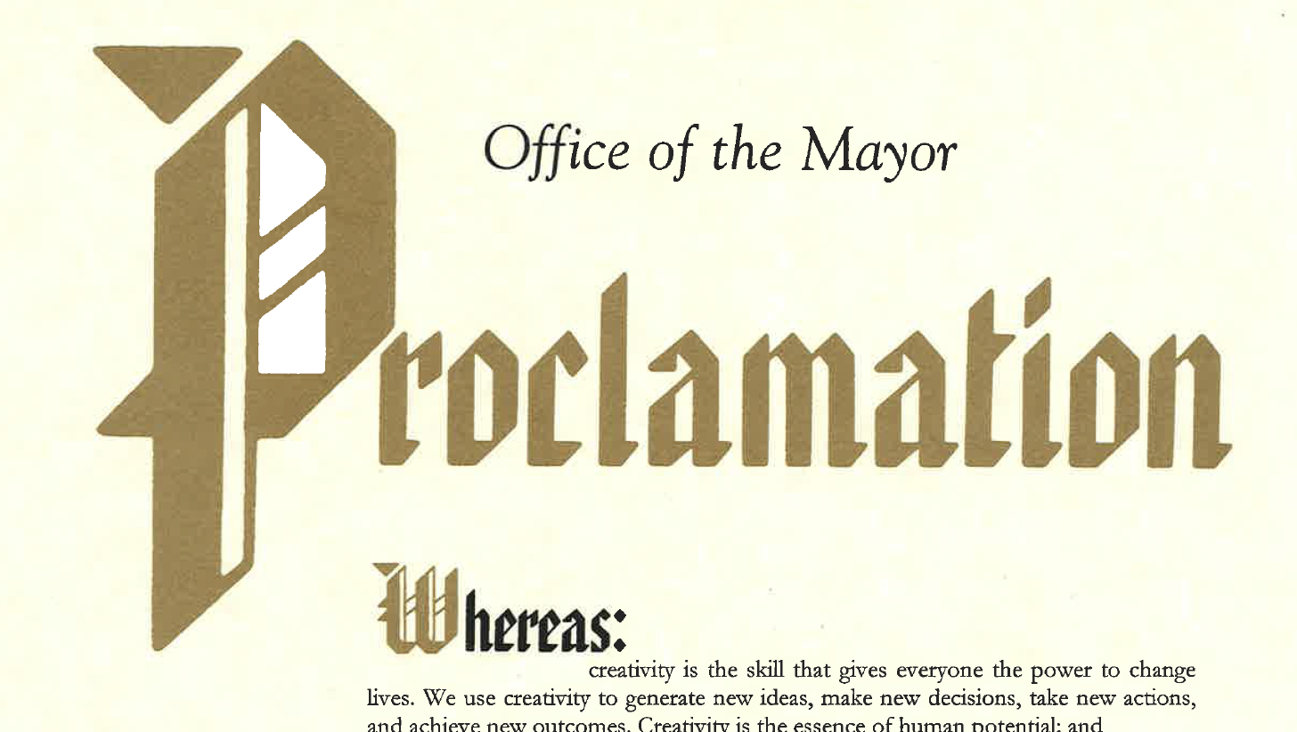 Creativity City Proclamation