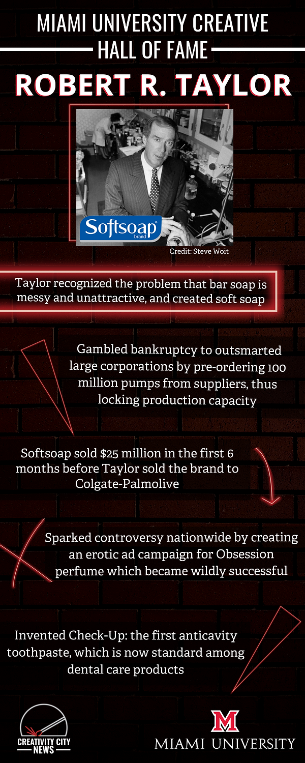 Digital Poster that reads Miami University Creative Hall of Fame Robert R. Taylor Taylor recognized the problem bar soap is messy and unattractive, and created soft soap gambled bankruptcy to outsmarted large corporations by pre-ordering 100 million pumps from suppliers, thus locking production capacity Softsoap sold $25 million in the first 6 months before Taylor sold the brand to colgate-palmolive Sparked controversy nationwide by creating an erotic campaign for Obsession perfume which became wildy successful invented check-up the first anti-cavitiy toothpaste, which is now standard among dental care products creativity city news miami university