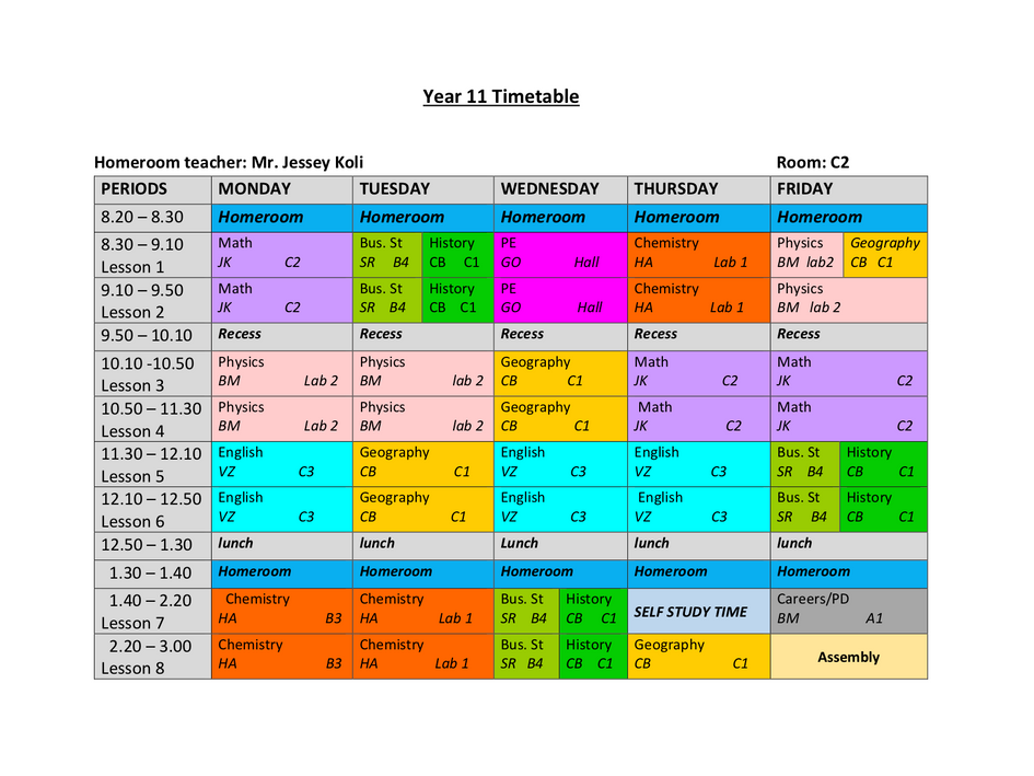 Year 11 Timetable