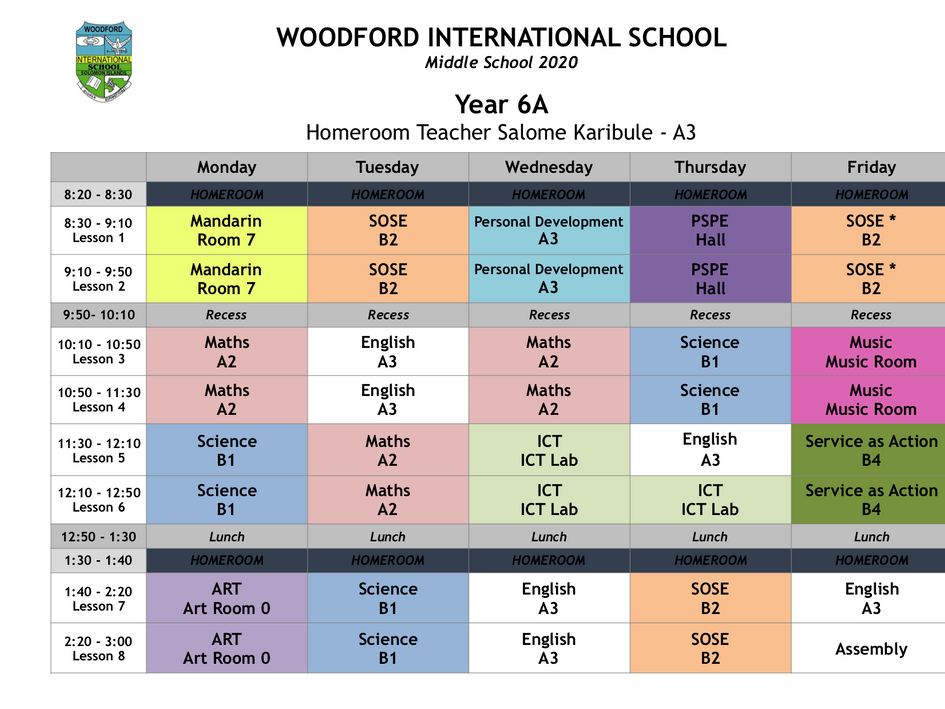 Year 6A Timetable 2020