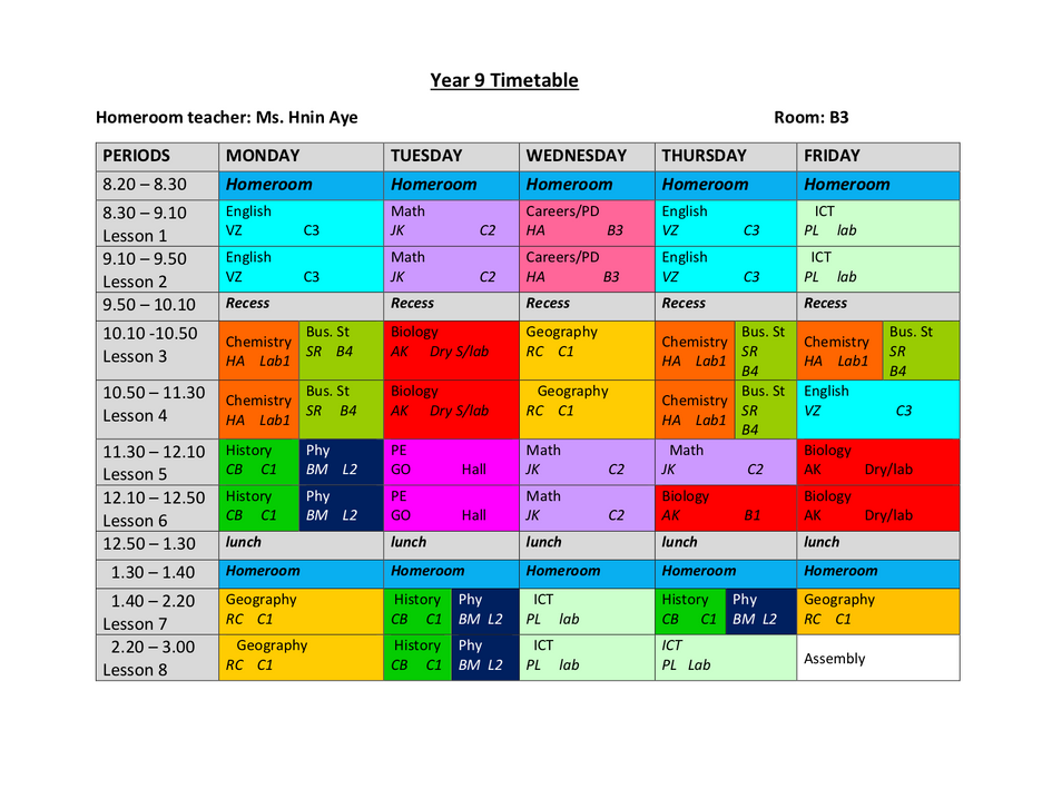 Year 9 Timetable