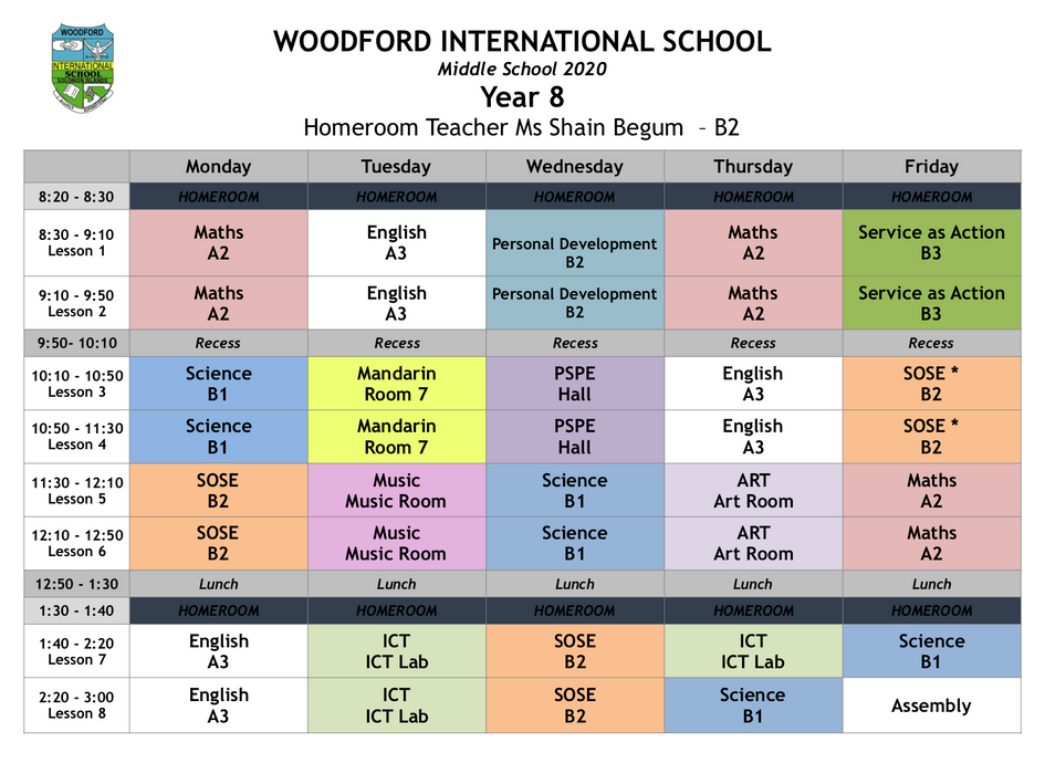 Year 8 Timetable