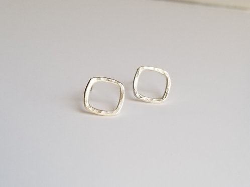 Rounded Square Post Earrings