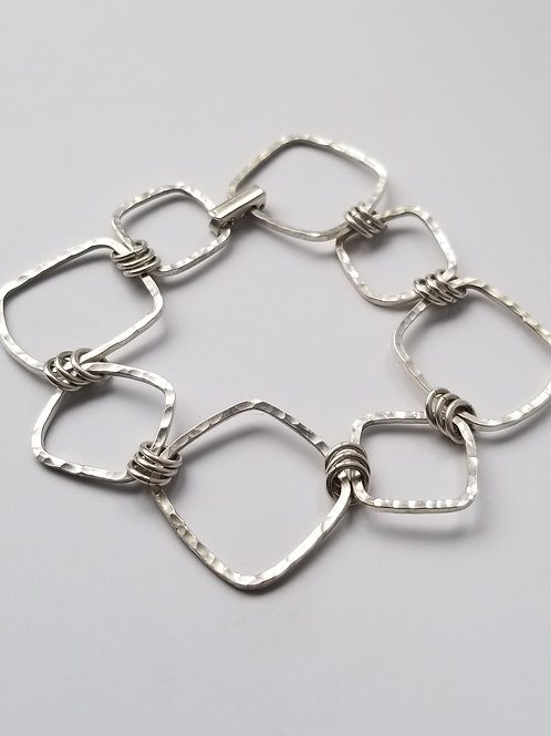 Organic Medium and Small Sterling Silver Square Bracelet