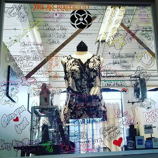 I have always loved doing window displays and I thought instead of making some kind of over elaborate scene, why not lift others up with words of praise and kindness! I had several other artsists here at the Mill help me create words and phrases to make someone smile or lift their spirits.
