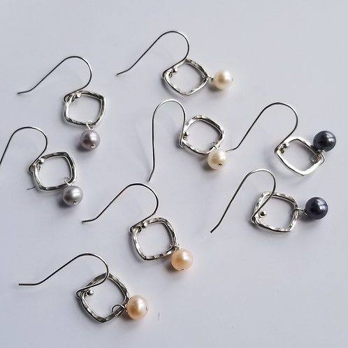 Hammered Square Earrings with Freshwater Pearls