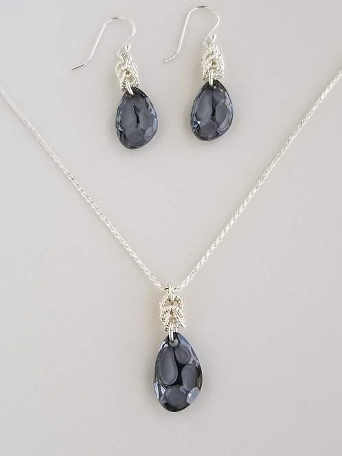 Twisted Byzantine Radiolarian Crystal Necklace and Earring Set