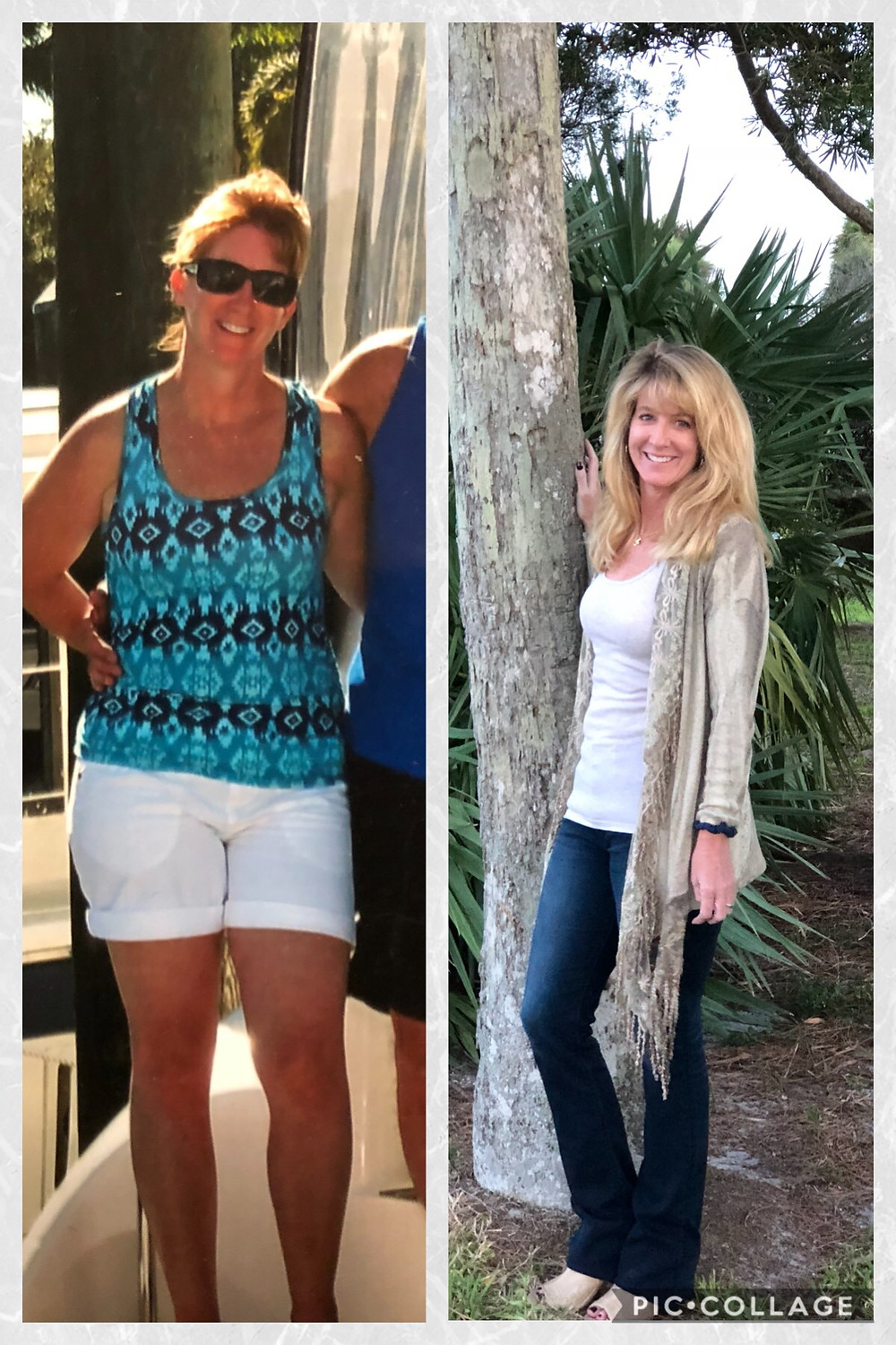 Woman at 142 pounds, then weighs 120 pounds.