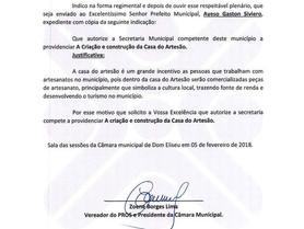 Indicação do Vereador Zoene Borges Limaa criação e construção da Casa do Artesão em Dom Eliseu .