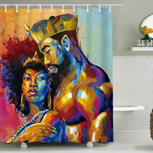 180*180cm Size and Eco-Friendly Feature African American couple shower curtains