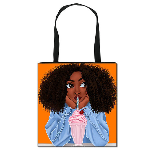 Dropship Tote Bags for Black Women Art African Girls Print Shopping Bags Ladies