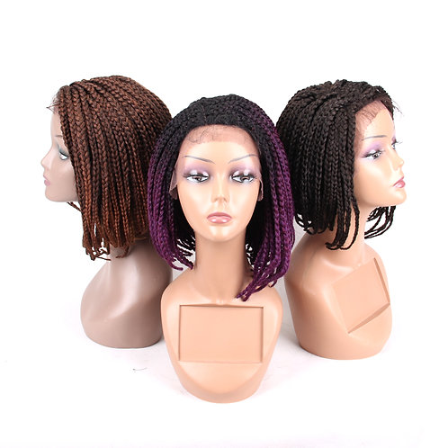 Synthetic Braided Box Braids Wig For Black African Women High Temperature Fiber