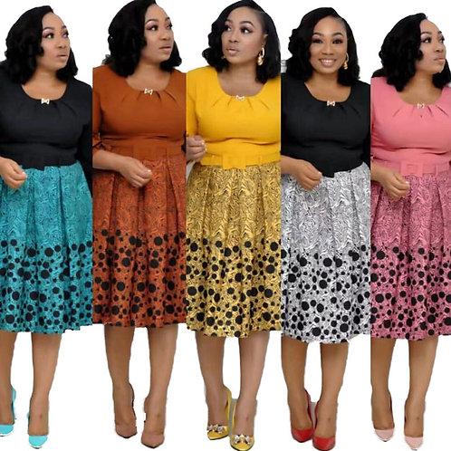 91110-SW45 african women office wear print plus size dress sehe fashion