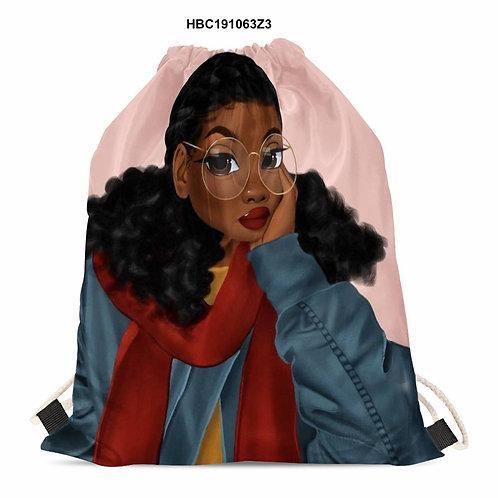 Pink Custom Cinch Bag Africa Black Girl Print  Wholesale Christmas Gift Drawstri
