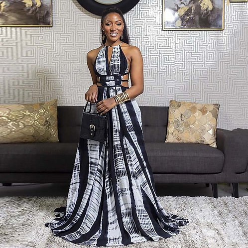 A4712 Luxury Halter Sleeveless Elegant Woman Plus Size African Maxi Dress