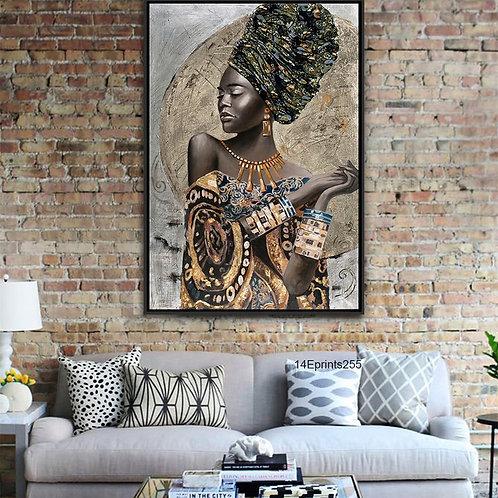 Manufacturer Direct Offer African Woman Featured Dress Framed Art Canvas Printin